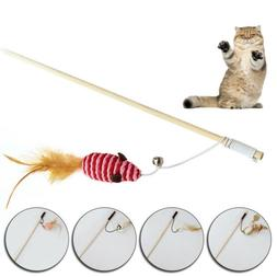 1pc Creative Pet Toys With Mini Bell Interactive Stick Woode