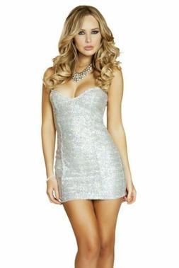 1pc Sequin Mini Dress - Silver