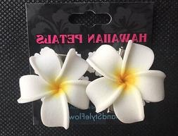 2 pc Mini Hawaiian Plumeria Flower Foam Hair Clip Wedding Br