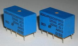 2 X Mini 24V Coil DPDT 1.25A Relay - Small 24 V DC PC Mount