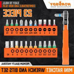 23PC Mini Ratchet Wrench Screwdriver Hex Torx Bit Quick Chan