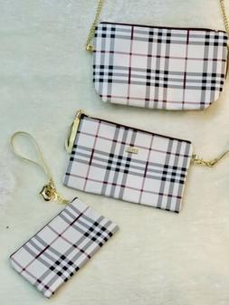 3 Pc SET Stripped Mini Satchel Crossbody Bag With Accessory