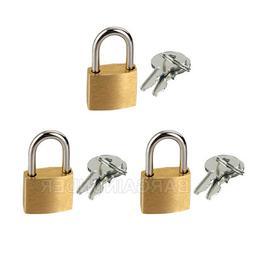 3 PC Small Metal Padlocks 20mm Mini Brass Locks Jewelry Safe