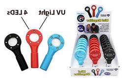 3pc 4X Mini Magnifying Glass Jewelry Magnifier w/ 4 LED & UV