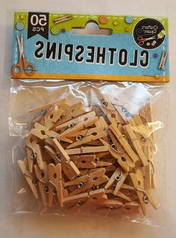 "50 pc MINI 1"" inch small CLOTHESPIN Natural Wood Miniature C"