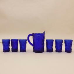 7pc RARE Cobalt Blue Glass INVERTED PEACOCK Child Mini PITCH