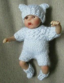 Doll Clothes blue 3pc Hand knitted suit sleeper for mini bab