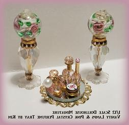 Dollhouse Mini~Vanity Lamps & Pink Crystal Perfume, Mirrored