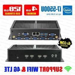 Fanless Mini PC 4G/128G Intel i7 5500U 2*LAN 6*COM 8*USB 2*D