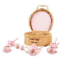 Kids Tea Set Mini Porcelain Tea Party 17 Pc Cups Saucers Tea