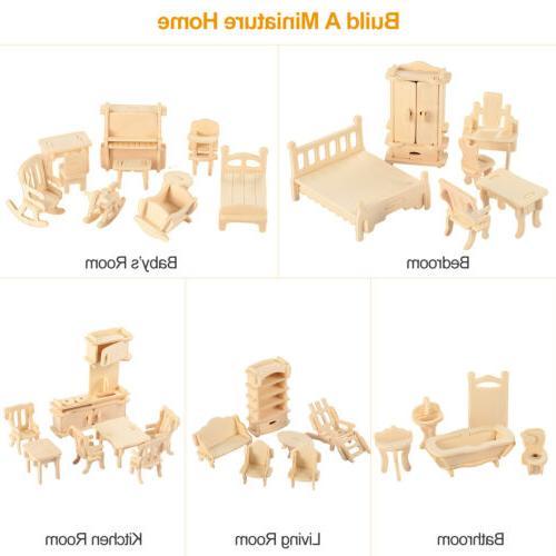 34PCS Wooden Miniature Furniture Models Dollhouse Kitchen Be