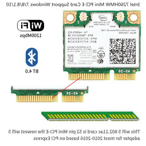 Half Mini PCI-E WiFi Card Intel 7260HMW 1200M 2.4/5Ghz Netwo