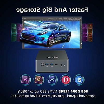 Mini AWOW Desktop Computer Windows Intel J4115 with 8GB