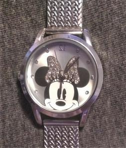 Mini Mouse Watch ~ Genuine Disney ~ Silver w/ Rhinestones ~