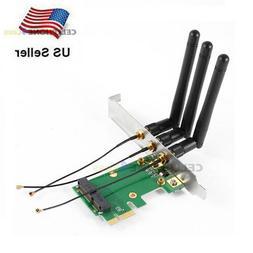 Mini PCI-E Express to PCI-E Wireless Adapter With 3 Antenna