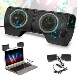 Mini Speakers USB Clip-On Computer Sound Bar Stereo Desktop