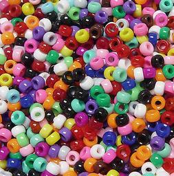 Multi Opaque Mini Barrel Pony Beads made in USA 1,000pc kids