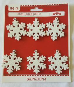 NIP 6 pc Mini Metallic Antique White Glitter Snowflake Oranm