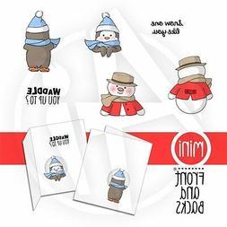 Snowman &  Penguin 6pc Mini stamps L@@k@examples ART IMPRESS