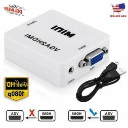 VGA to HDMI Mini Full HD Video 1080P Audio Converter Adapter