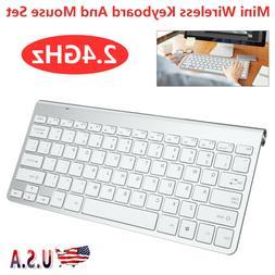 White Mini Wireless Keyboard Mouse Set Waterproof 2.4G For P